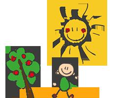 Dessin enfantin d'un soleil et d'un enfant à côté d'un arbre e